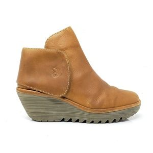 Fly London Tan Leather Ankle Boots